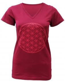 Yoga T-shirt Flower of Life Bordeaux for women