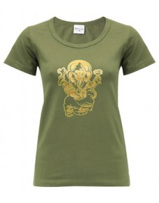 Yoga T Shirt Ganesha Olive, for Women