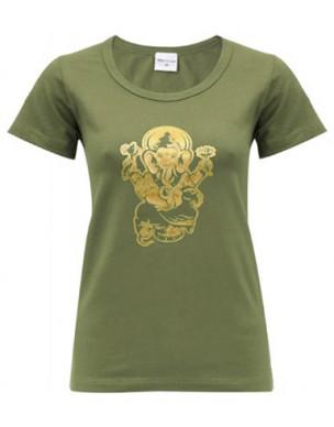 Yoga T Shirt Ganesha Olive, for Women