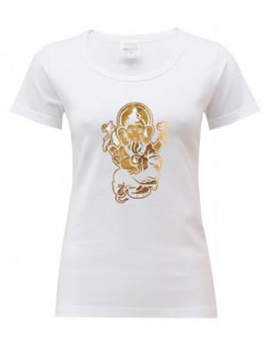 Yoga T Shirt Ganesha White
